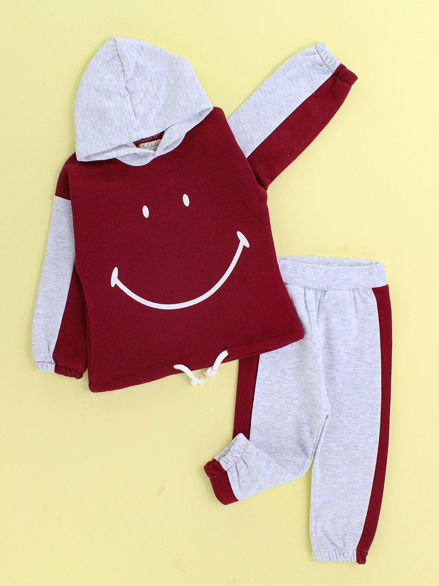 Erkek Bebek Kışlık Smile Baskılı Kapşonlu 2'li Takım (6-18 Ay) - Bordo